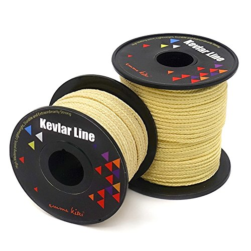 emma kites 500lb 100ft Braided Kevlar String Utility Cord Mason Line for Kite Bridle Fishing Camping Packing Creative Projects 100% Kevlar String