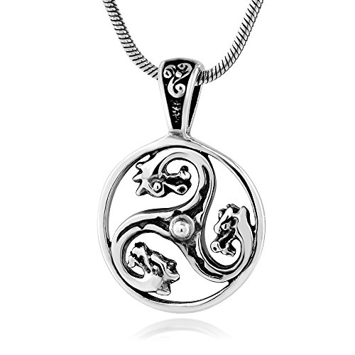 925 Sterling Silver Celtic Knot Triskele Triskelion Medieval Dragon Pendant Necklace, 18 (Dragon Triskele)