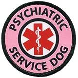 Pink Psychiatric Service Dog Medical Alert Symbol 2.5 inch Black Rim Hook Velcro Patch