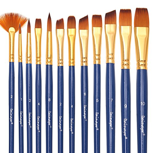 Dainayw Art Paint Brushes Set - 12 Pieces - Fabric Paint Brush for Art Painting, Face Painting - Acrylic Paint, Watercolor, Oil, - Nylon (Best Fabric Paint)