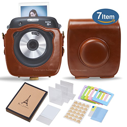 Kamera 7 in 1 Fujifilm Instax SQ10 Case Accessory Bundle Gift Pack for Instax Square SQ10 Hybrid Instant Camera (Brown)