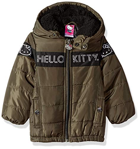 Hello Kitty Baby Girls Puffer Jacket with Hood, Olive/Black, 12 Months