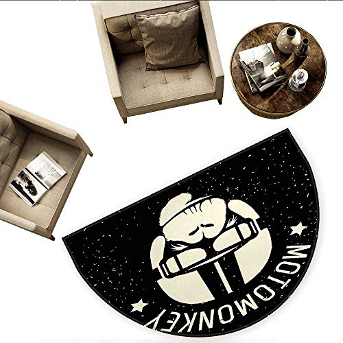 Outer Space Semicircular CushionSign Alien Monkey with Astronaut Costume in a Galaxy with Stars Poster Entry Door Mat H 78.7