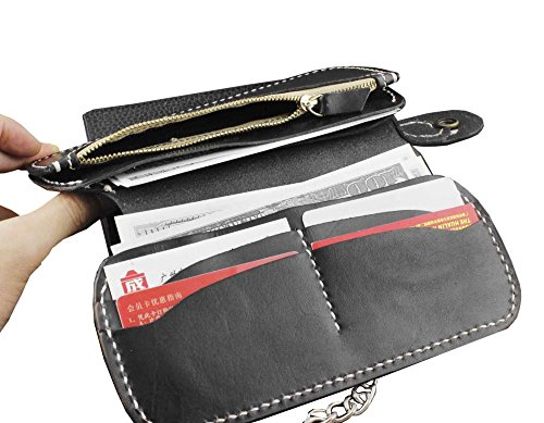 Black Long Motorcylce Leather Western Biker Chain Purse Concho Wallet With Metal rz5grwq