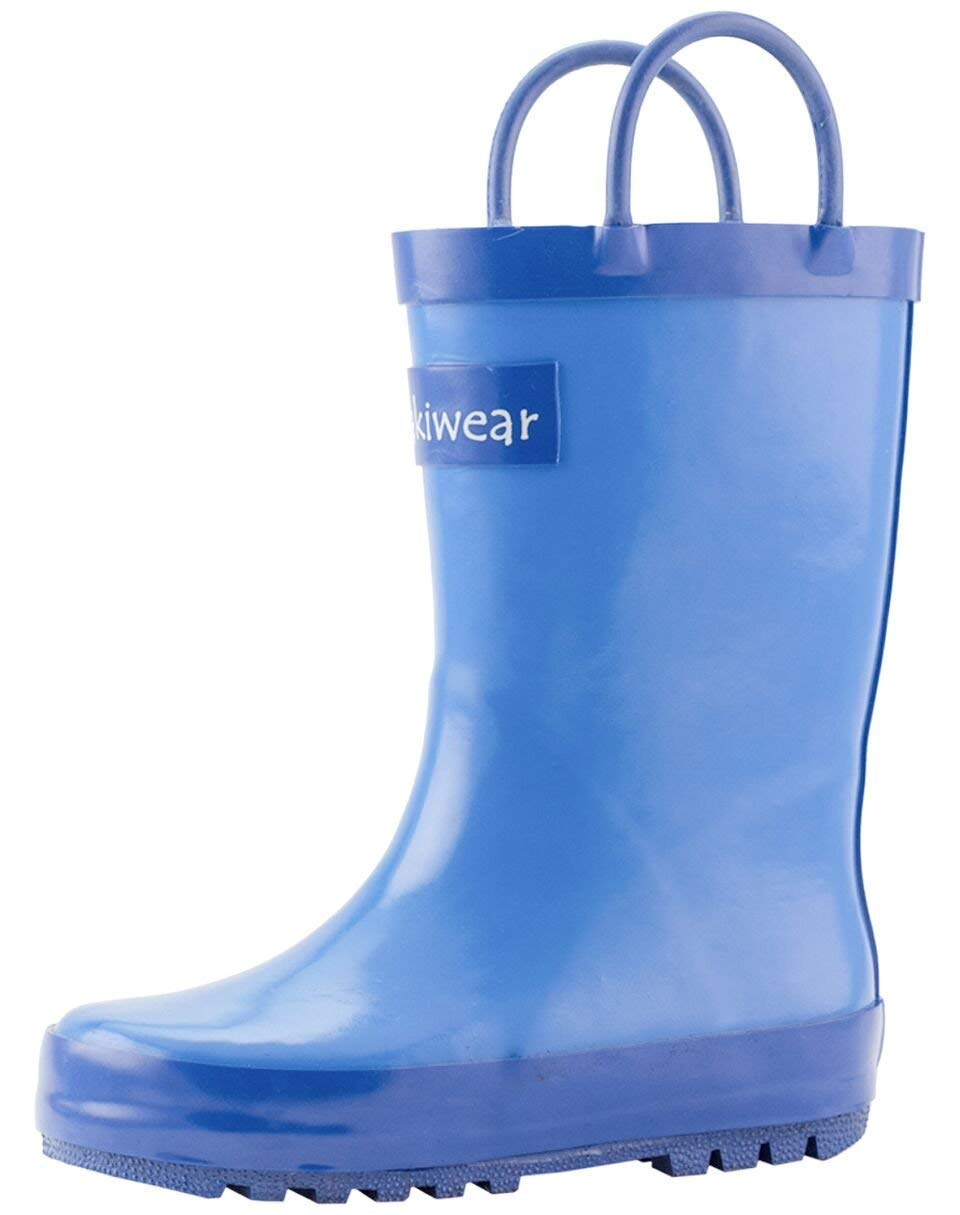 OAKI Kids Rubber Rain Boots with Easy-On Handles, Cobalt Blue, 12T US Toddler