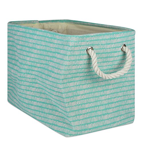 DII Collapsible Polyester Storage Basket or Bin with Durable Cotton Handles, Home Organizer Solution for Office, Bedroom Closet, Toys, Laundry 17.75x12x15 Aqua