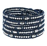 Chan Luu Allure Blue Bead Wrap Bracelet on Blue Leather