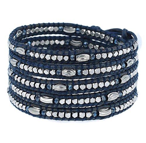 Chan Luu Allure Blue Bead Wrap Bracelet on Blue Leather by Chan Luu
