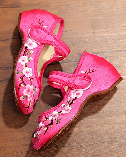 Flats Red Girls Shoes Peach Blossom Jane Embroidery Velcro AvaCostume Mary zIB7qwq