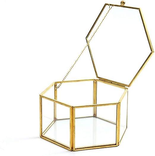 YYW - Joyero de Cristal Vintage, Caja de joyería de Adorno para Anillos y Pendientes, Caja de Cristal con Flores: Amazon.es: Hogar