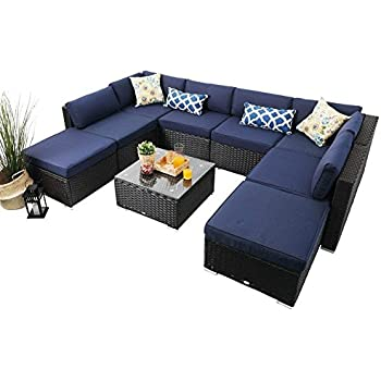 Amazon.com: Kinsunny - Juego de 9 muebles de mimbre para ...