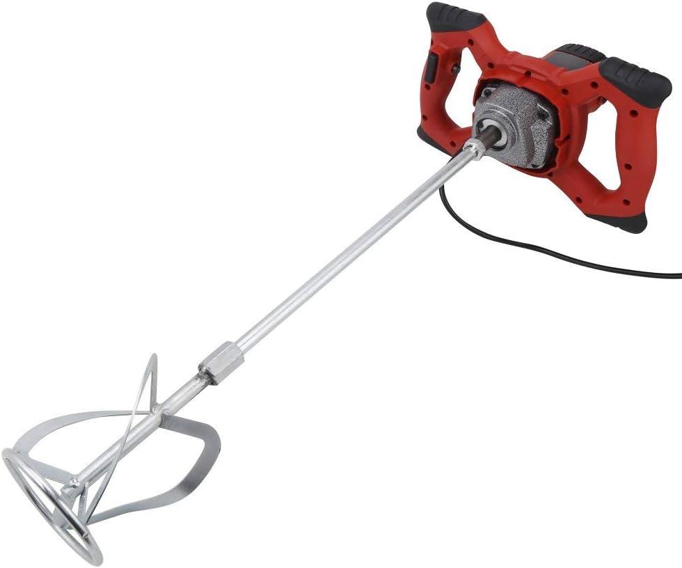 Mezcladores de Pintura, 6 Velocidad Portátil Mezclador Batidor Eléctrico AC 220V para Mezclar Alimentos Mortero Pintura Argamasa Cemento,1500W Rojo
