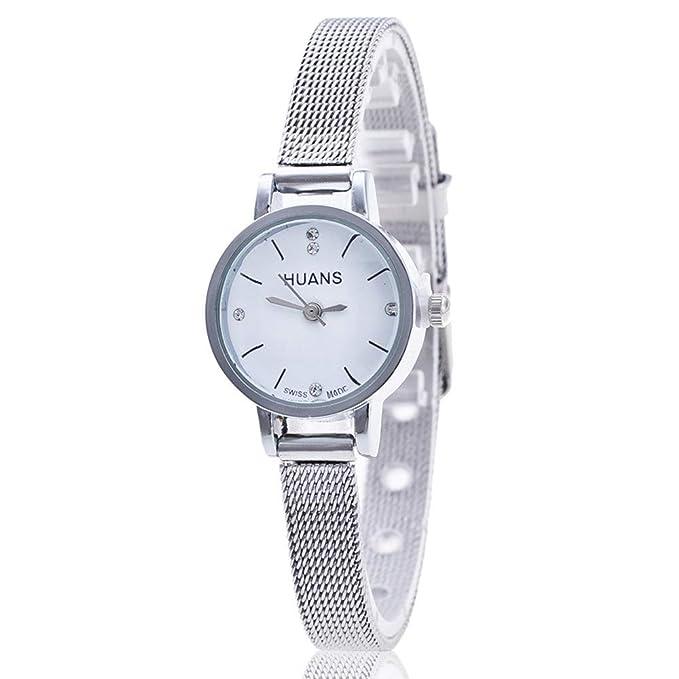 Bestow Reloj de la Correa de Malla del Acero Inoxidable de Las Se?oras de Plata de Las Se?oras Reloj de la Correa de Malla: Amazon.es: Ropa y accesorios