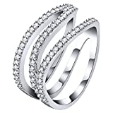 AoedeJ Twist Z Shaped Finger Rings 925 Sterling Silver CZ Eternity Ring Wedding Band Ring (7)