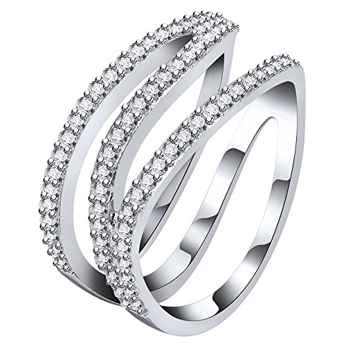 AoedeJ Twist Z Shaped Finger Rings 925 Sterling Silver CZ Eternity Ring Wedding Band Ring (7) by AoedeJ