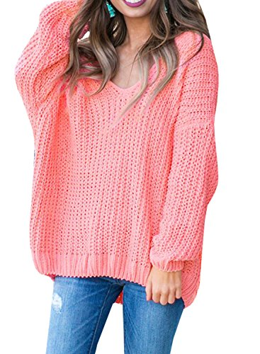 Pointelle Knit Tunic - Imily Bela Womens Cable Knit Off The Shoulder Tunic Tops Scoop V Neck Oversized Sweater Pink