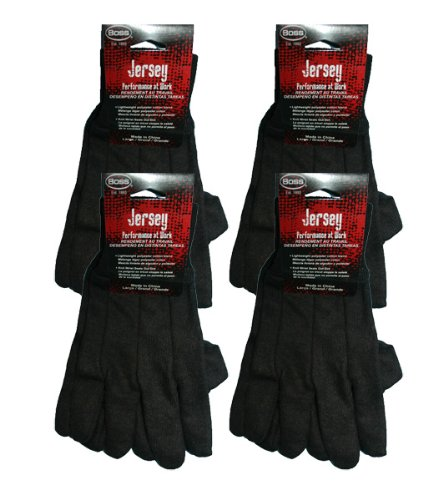Boss Brown Large Jersey Work Gloves Cotton/Poly Blend (4 Pack) # 4020-4pk