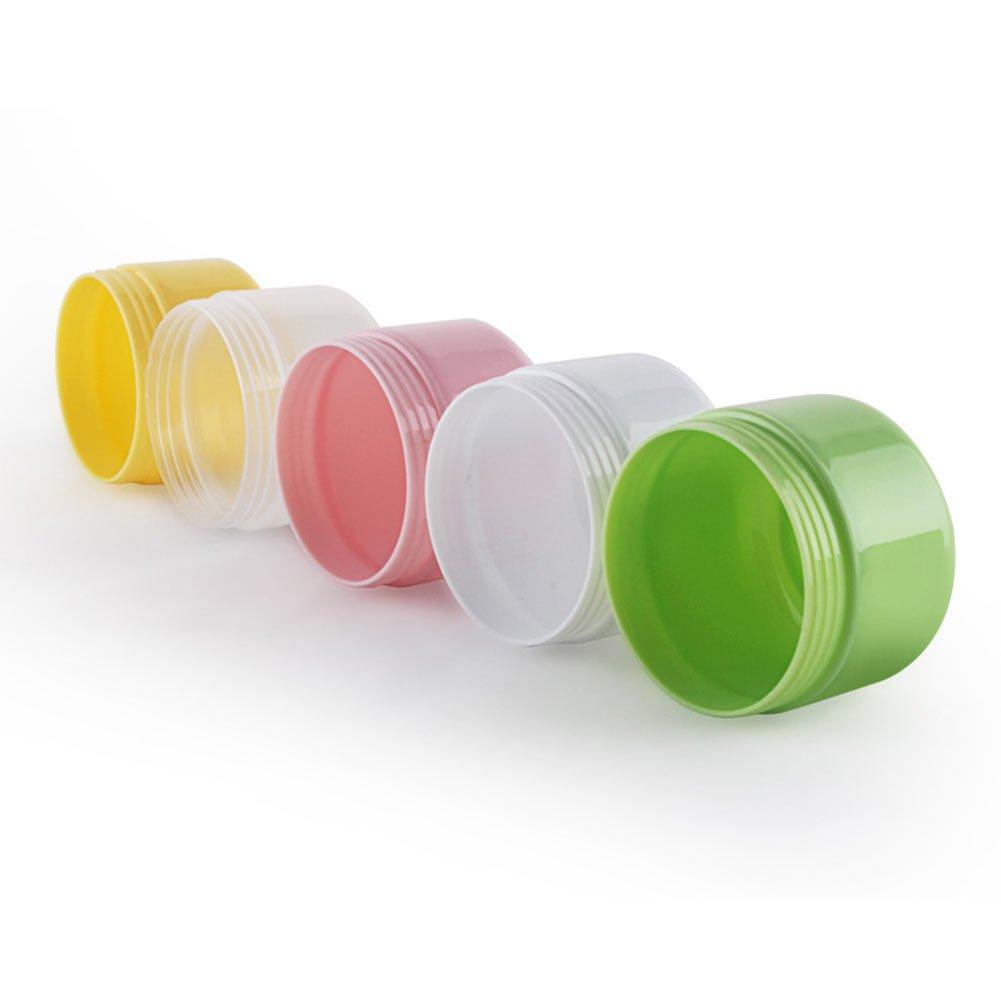 Thinkmax 5pcs Pot de 100g Plastique Crème Boîtes vides Cosmétique à nourriture Petit échantillon Maquillage Sub-bottling