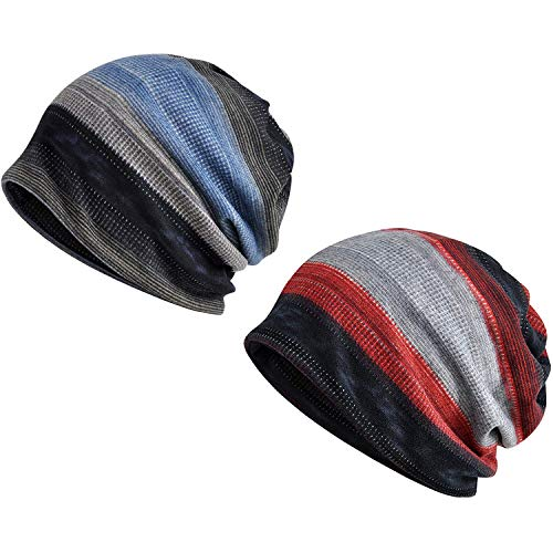 Zando Womens Beanie Hat Knit Striped Slouchy Cap Mens Thin Soft Stylish Hip-hop Headwraps Cap Chemo Caps for Women Baggy Sleep Cap 2 Pack Blue Red ()