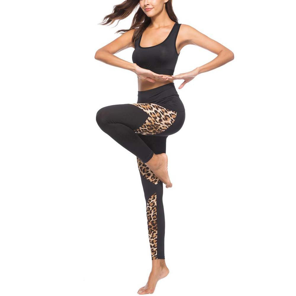 4Clovers Womens Leggings Fashion Leopard Patchwork Ultra Comfy Sports Gym Running Stretch Yoga Athletic Pants