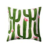 FinancePlan Cactus Flower Print Sofa Bed Throw Pillow Case Cushion Cover Home Room Decor 18''