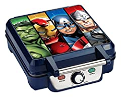 """Start your day like a superhero with a plate full of golden brown waffles emblazoned with Avengers icons. The vibrant graphic features Hulk, Iron Man, Captain America and Thor. Each waffle is a 4.25"""" square imprinted with a different icon including H..."""