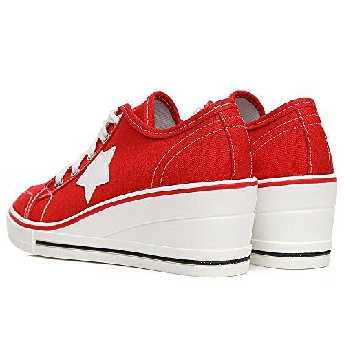 Casuel de Chaussures Mode Lacets Toile Talon Compensées Fermeture Sneakers Toile Tennis Femme en Baskets Sport Chaussure Compensé AqwUxfR