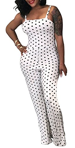Dot Jumper Set - Shinfy Women's Elegant Polka Dots Jumpsuit Backless Spaghetti Strap Long Pants Sets Romper S-XXXL
