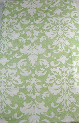 Spring Fling Fleur De Lis Flannel Back Vinyl Tablecloths Pastel Green & White Assorted Sizes (52 x 102 Oblong)