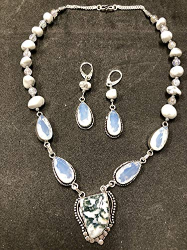 WHITE AGATE, WHITE HOWLITE GEMSTONES IN STERLING SILVER IN JEWELRY SET HANDMADE