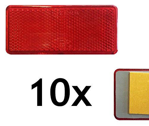 10x Rechteckrückstrahler rot 90x40mm Seitenstrahler selbstklebend mit E-Prüfzeichen Reflektor