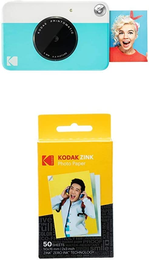 KODAK Printomatic - Cámara de impresión instantánea, Azul + Paquete de 50 Hojas