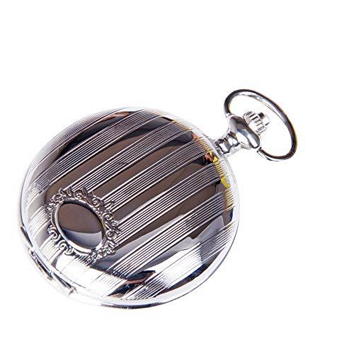 (ShoppeWatch Pocket Watch with Chain Silver Tone Vintage Steampunk Cosplay Design Reloj de Bolsillo PW-28 )