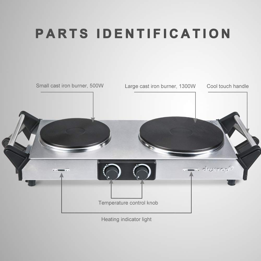 Duxtop Hot Plate Double Cast-Iron Electric Burner Cooktop with Adjustable Temperature Control, 1800W, Metal Housing, Indicator Light (2 Years Warranty) by Duxtop (Image #3)