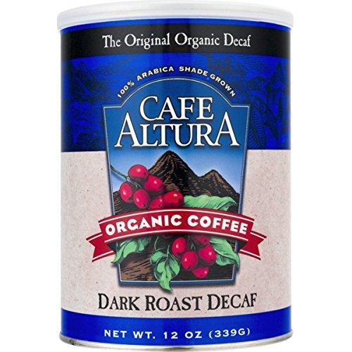 Cafe Altura Organic Coffee, Dark Roast Decaf, Ground Coffee, 12 Ounce Can