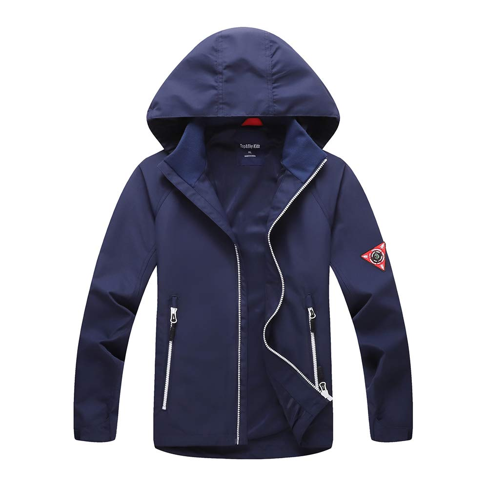Boys Rain Jacket Lightweight Waterproof Jacket for Boys with Hood,Best for Rain School Day,Hiking and Camping