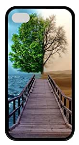 fantasy tree TPU Black Case for iphone 4S/4