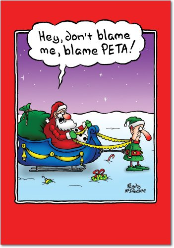 12 'Blame PETA' Hilarious Greeting Cards 4.63 x 6.75 inch, Merry Xmas Note Cards for Holidays, Gifts, Funny Santa and Reindeer Humor, Notecard Stationery w/ Envelopes B5890