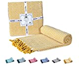 """yellow throw quilt - 100% Soft Cotton Throw Blanket– Chevron Yellow Throw Blanket-Couch Sofa Throw Blanket, Sofa Quilt, Super Soft Cotton Throw Blanket, Indoor/Outdoor 50""""x60"""" Hand-Knotted Fringe Cotton Throws-By HILLFAIR"""