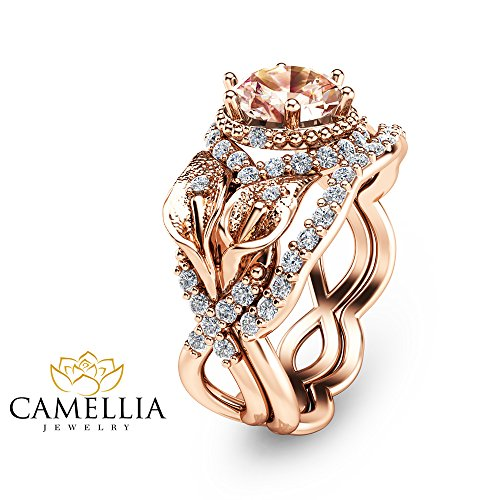 Calla Lily Design Morganite Ring Set Unique Wedding Ring Set 14K Rose Gold Custom Rings with Natural Side Diamonds Nature Inspired Engagement Set Unique Alternative Rings Floral Bridal Rings