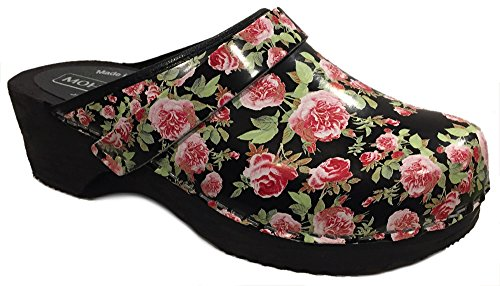 Moheda Rosanna' Floral Clogs - Fancy Black - Size 40