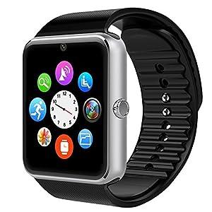 Montre Connectée,Willful Bluetooth Smartwatch Montre Sport Carte Sim de Soutien et Carte de TF Caméra avec Podomètre,Sommeil,Calories pour Samsung Sony Huawei Android pour Femme Homme Enfant Argent
