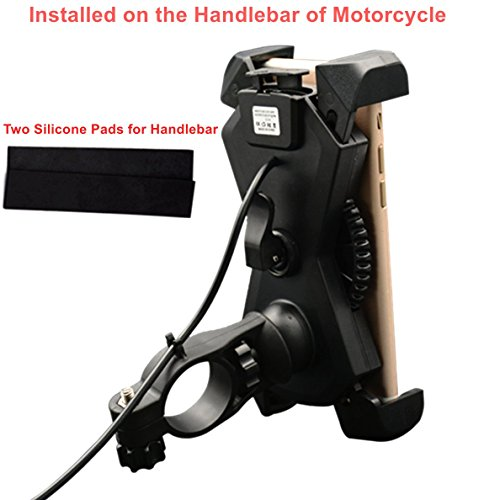 Motorcycle Phone Mount with USB Charger Port,DHYSTAR Electric Bike Motorcycle Cell phone Holder Stand Bracket Fits for iPhone/Samsung Galaxy Mobile Smartphones,GPS,Adjustable Clamp,on Handlebar/Mirror by DHYSTAR (Image #3)
