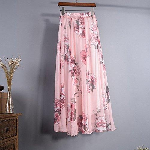 Long Longue de Soie En Maxi Mousseline Rose Jupe Skirt Femme Bohmienne Imprim Evedaily 1RtqYfw1