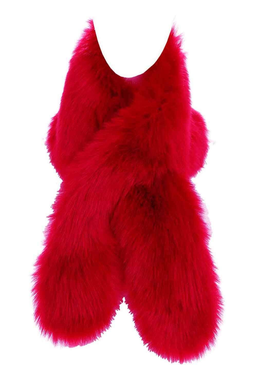 Changuan Women's Winter Fake Faux Fur Scarf Wrap Collar Shawl Shrug Red- 150cm