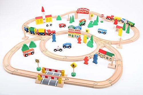 point-kids Eisenbahn-Set aus Holz - 100 Teile