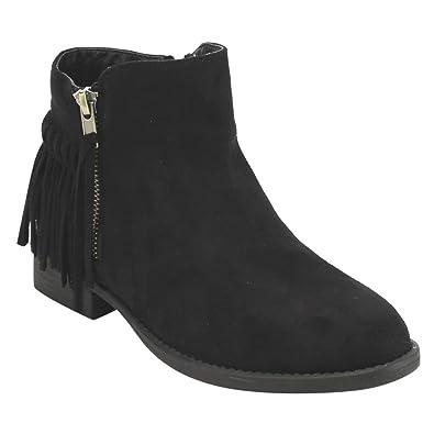 Oscarr-11 Women's Fringe Side Zipper Flat Heel Ankle Booties