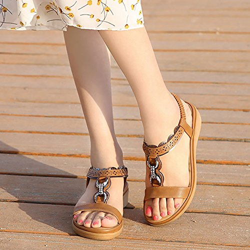 f5e98c8f3af Wollanlily Women Summer Beach Flat Sandals Bohemia Flip-Flop Ankle Strap  Thong Shoes