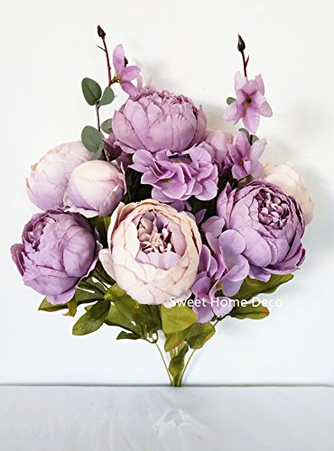 �' Super Soft Blooming Peonies and Hydrangeas Silk Artificial Bouquet (13 Stems/6 Flower Heads) (Lavender) ()