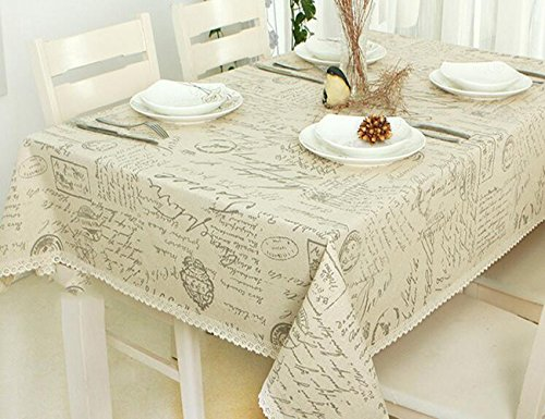 MeMoreCool Khaki European Letters Rectangular Table Cloth Multi-function Dustproof Dining-table Cloth Cover Cotton Linen Cloth Art 55X98Inch -